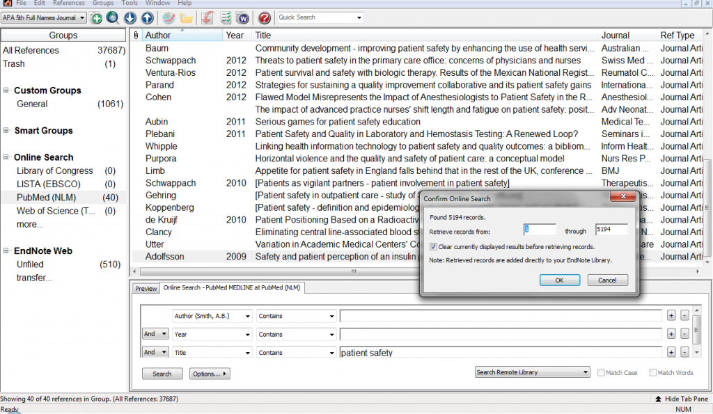 endnote searching